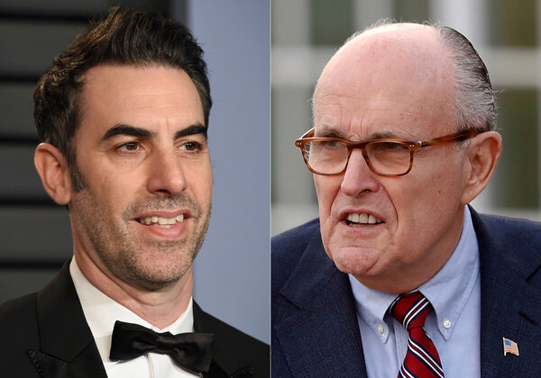 Sacha Baron Cohen, left, features former New York Mayor Rudolph W. Giuliani in his latest movie.