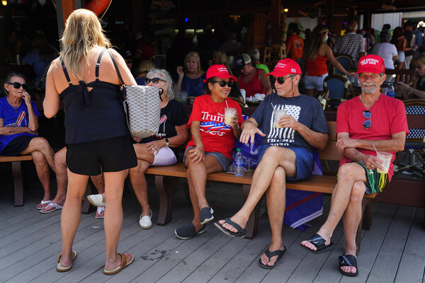 Supporters of President Donald Trump at a restaurant in Cummings, Ga., in September.