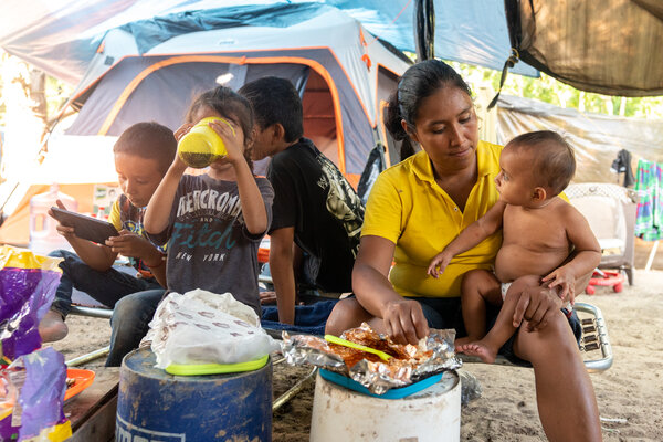 Lucia Gomez said her family had made a run for the camp from Southern Mexico after their home was ransacked and her husband and father-in-law were killed.