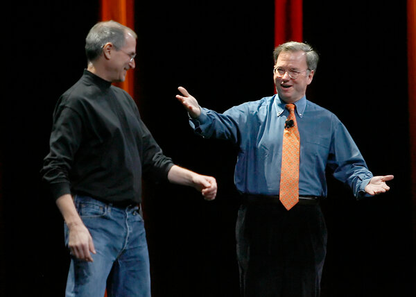 In 2007, Steve Jobs, left, Apple's co-founder, invited Google's chief executive, Eric Schmidt, to join him to explain how Google would work on the iPhone.