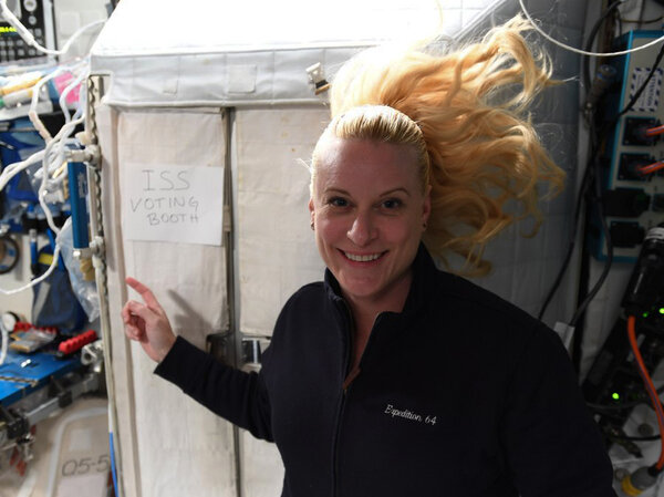 Kate Rubins turned a corner of the International Space Station into a makeshift voting booth.