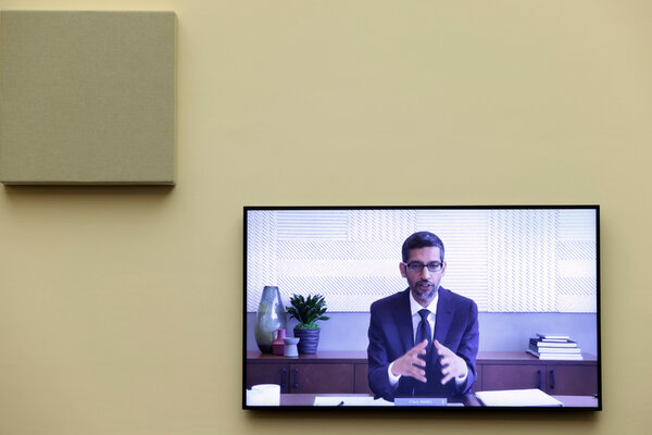 Sundar Pichai, Google's chief executive, speaking via video at a House Judiciary subcommittee hearing in July.
