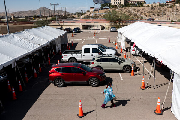 A testing site for the coronavirus in El Paso County, Texas, where hospitalizations have soared and officials issued a new order for residents to stay at home.