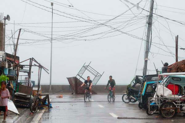 The coast of Sorsogon Province in the central Philippines as Typhoon Goni made landfall on Sunday.