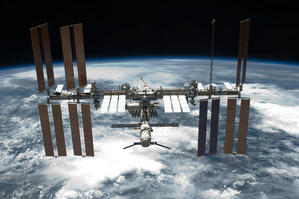 The completed space station, photographed from the space shuttle Endeavour in May 2011.