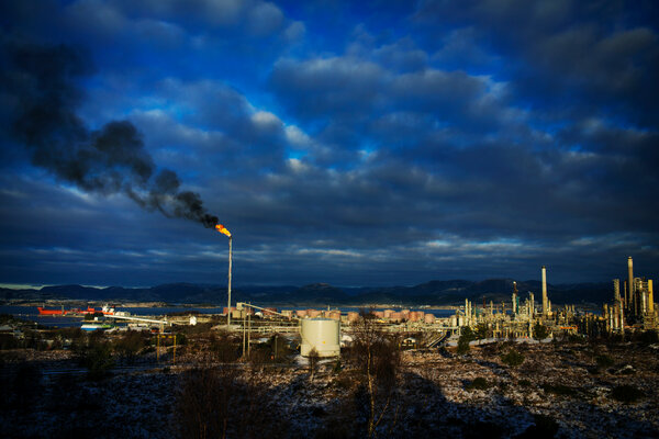 The Mongstad refinery in Austrheim and Lindas.Oil and gas make up almost half of the country's exports, according to Norway's petroleum department.