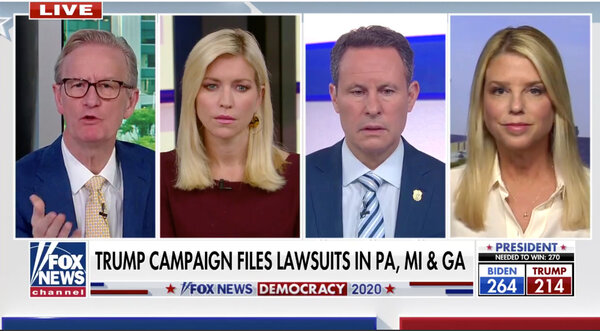 "Pam Bondi, right, a Trump campaign adviser, was challenged on ""Fox & Friends"" by Steve Doocy, far left, over her comment about ""fake ballots that are coming in late."""