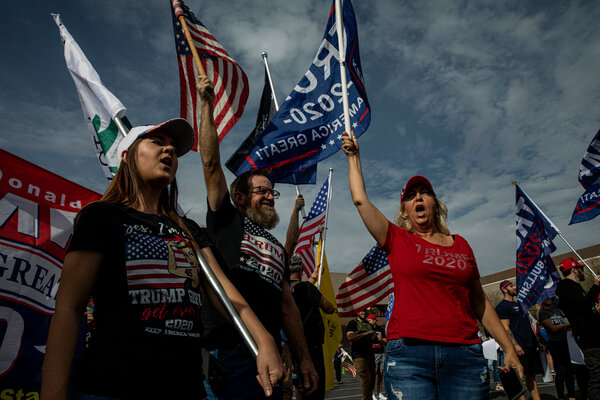 Supporters of President Trump gathered outside the office where ballots were being counted in Phoenix.
