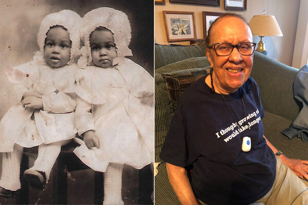 Laura Franklin, left, with her twin sister as a toddler; Ms. Franklin, 102, today.