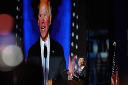 President-elect Joseph R. Biden Jr. spoke in Wilmington, Del., on Saturday night.
