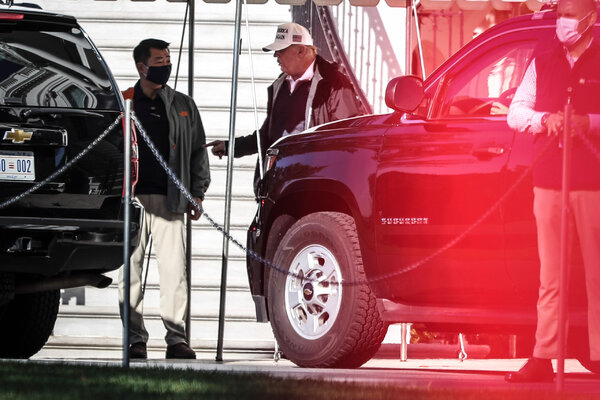 President Trump walking to the presidential motorcade outside of the White House on Saturday.