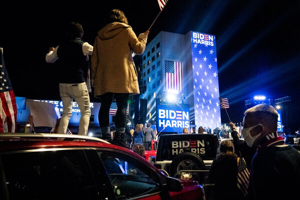 President-elect Joseph R. Biden Jr. and Vice President-elect Kamala Harris speak outside the Chase Center on Saturday.