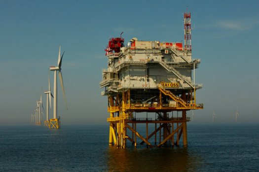 A wind turbine installation in the North Sea off England.Consumption of electricity generated by wind, solar and hydroelectric sources is expected grow nearly 7 percent this year.