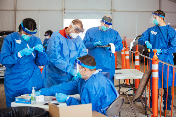 A testing site in Milwaukee last week. People with intellectual disabilities are vulnerable to the virus for several reason