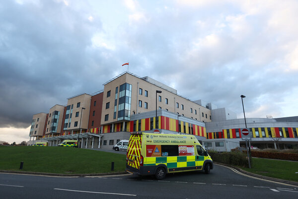 An ambulance is seen at the Royal Stoke University Hospital in Stoke-on-Trent this month.