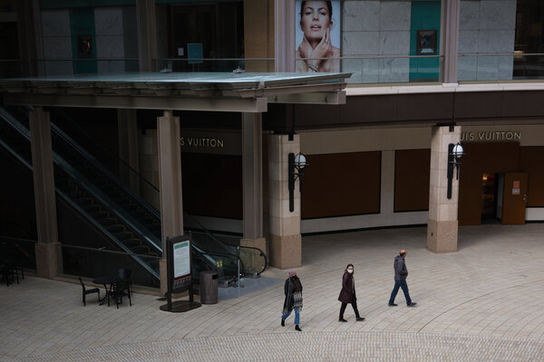 A nearly deserted outdoor mall in Salt Lake City. Recent job gains in dining and retail businesses are vulnerable to the rise in coronavirus infections.