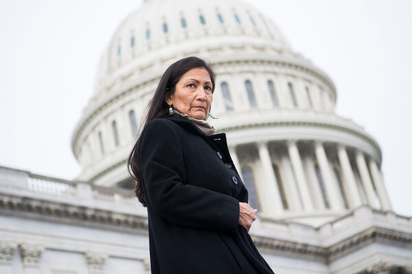 Representative Deb Haaland in 2018 became one of the first two Native American women elected to Congress.