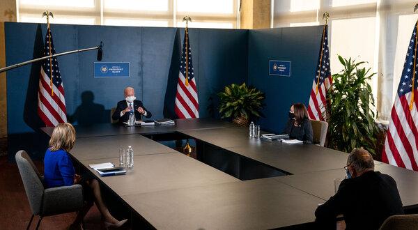 President-elect Joe Biden and Vice President-elect Kamala Harris met with Speaker Nancy Pelosi, and Senator Chuck Schumer, on Friday, in Wilmington, Del.