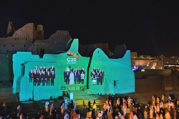 A family photo of G20 Leaders was projected on the outskirts of Riyadh on Friday.