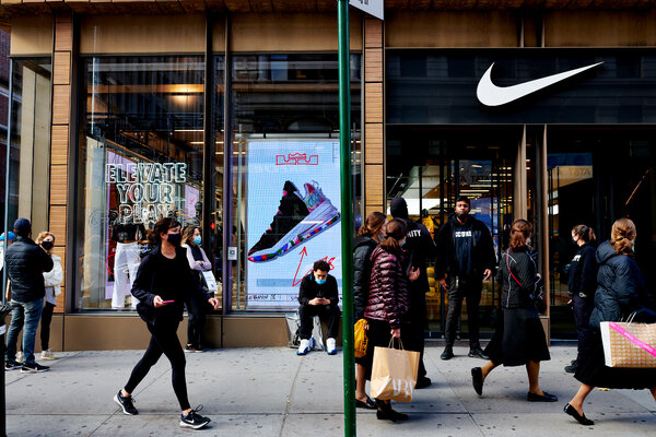 Shoppers outside Nike on Black Friday in downtown Manhattan.