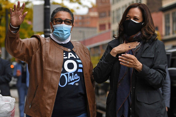 Representative Marcia L. Fudge, campaigning with Senator Kamala Harris, now the vice-president elect, in Cleveland in October.