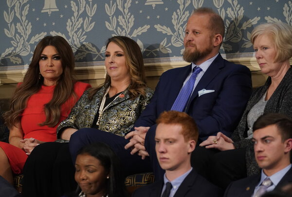 """Brad Parscale with Kimberly Guilfoyle, far left, and Ronna McDaniel, center, during President Trump's State of the Union speech in February.""""I think if he had been publicly empathetic, he would have won,"""" Mr. Parscale said of Mr. Trump."""