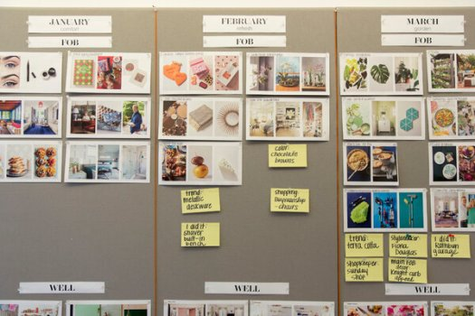Planning boards for issues of Better Homes & Gardens, one of Meredith's titles, at the company headquarters in Des Moines.