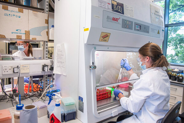 An Oxford Vaccine Group researcher in a laboratory in Oxford, England, working on the coronavirus vaccine developed by AstraZeneca and Oxford University.