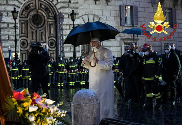 Pope Francis during the prayer for the feast of the Immaculate Conception in Piazza di Spagna in Rome on Tuesday.