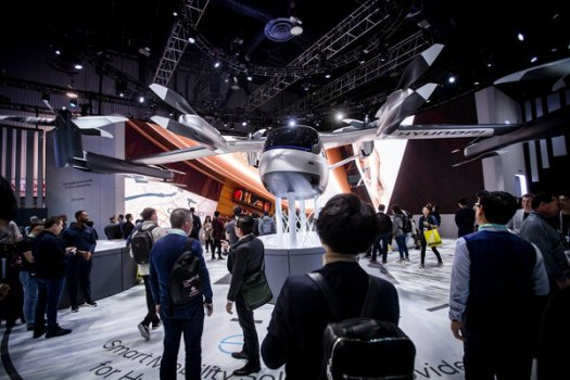 A model of a flying taxi co-developed by Uber on display in January in Las Vegas. Uber announced Tuesday that it was transferring its flying car unit to a start-up, Joby Aviation.