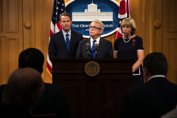 Gov. Mike DeWine of Ohio at a news conference in 2019. He is the latest Republican official to acknowledge President-elect Joe Biden's victory.
