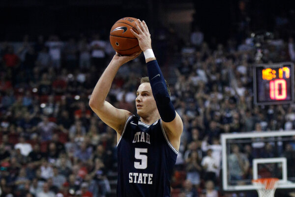 Sam Merrill scored 27 points and made the game-winning shot for Utah State against San Diego State in the Mountain West Conference tournament championship in Las Vegas on March 7.