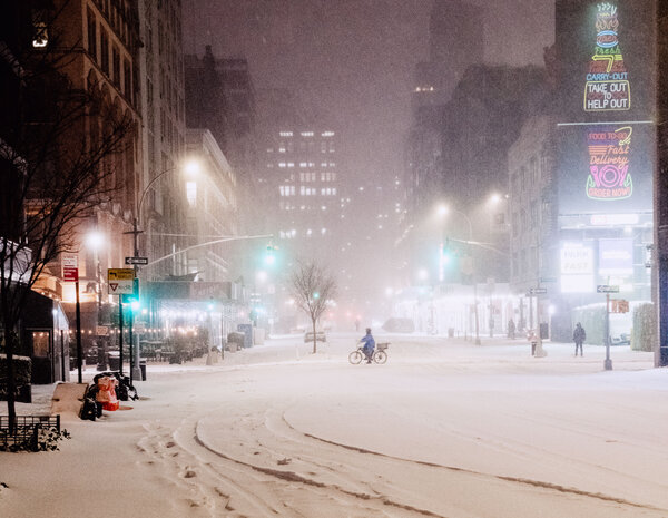 Forecasts predicted up to a foot of accumulation in New York - more than the city received all of last winter.