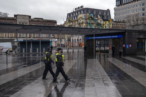 Kings Cross station in London on Monday, after a suddenly imposed lockdown, in an attempt to deal with a mutated coronavirus, restricted many activities.