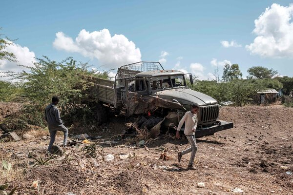 A truck belonging to the Ethiopian Defense Forces left abandoned in the village of Bisober in the Tigray region.