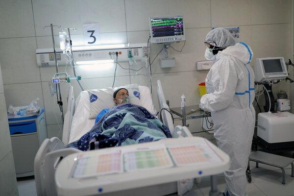 A nurse who treats Covid-19 patients at a hospital in Tehran.