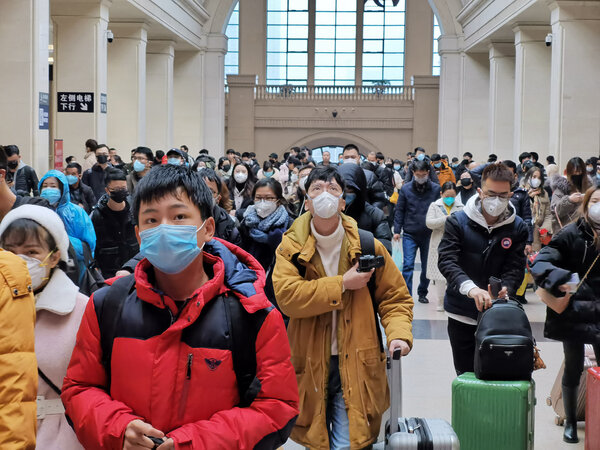 Hankou Railroad Station in Wuhan on Jan. 22. The virus erupted in the approach to Lunar New Year, a busy travel season in China.