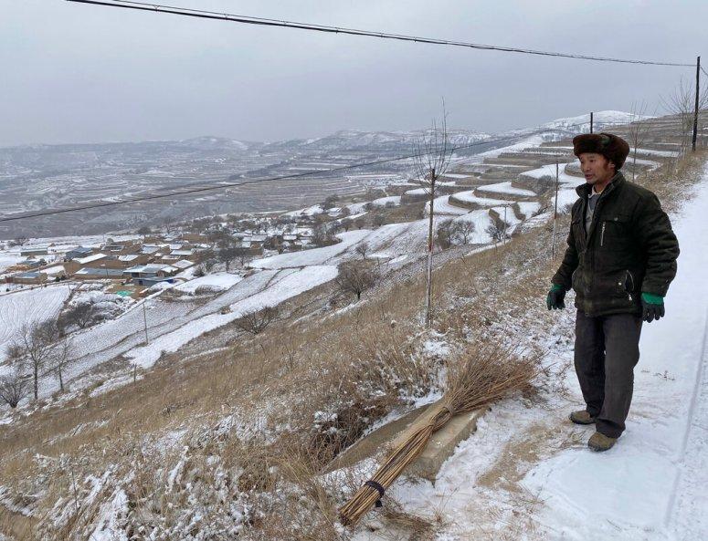 甘肃省农村地区的农民贾欢文在政府的扶贫项目中获得了一头母牛。