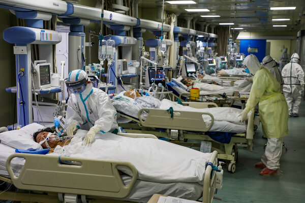 A Covid-19 intensive care unit at a hospital in Wuhan in February.