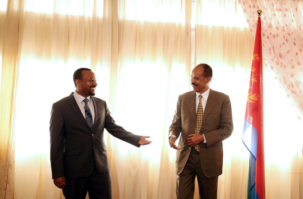 Prime Minister Abiy Ahmed of Ethiopia, left, with President Isaias Afwerki of Eritrea at the reopening of the Eritrean Embassy in Addis Ababa in 2018.
