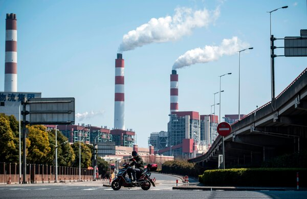 A coal-burning power plant in Shanghai. Mr. Xi's pledge to accelerate China's reduction of carbon emissions was light on detail but was well received internationally.