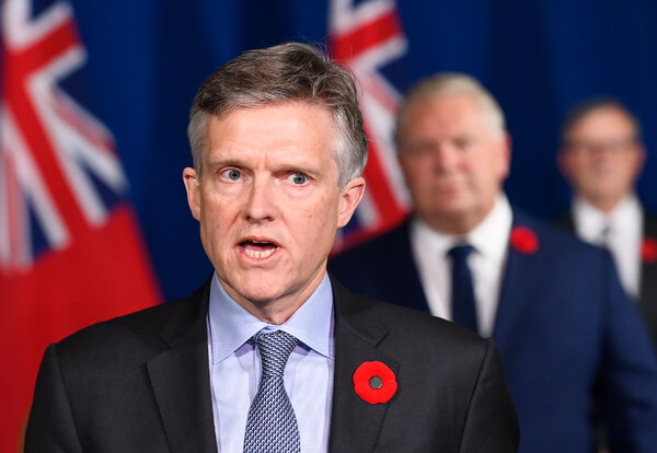 Rod Phillips, Ontario's finance minister, speaking at a news conference in November.