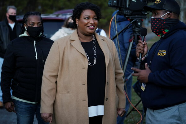 Stacey Abrams in Atlanta on Tuesday. After losing her race for governor in 2018, she has led voter registration efforts in Georgia.