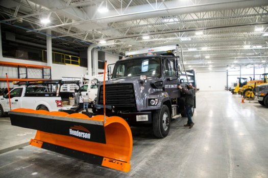 A Freightliner truck, made by Daimler, ready for snow in Iowa City, Iowa. Daimler, which also makes Mercedes-Benz cars, employs more than 25,000 in the United States.