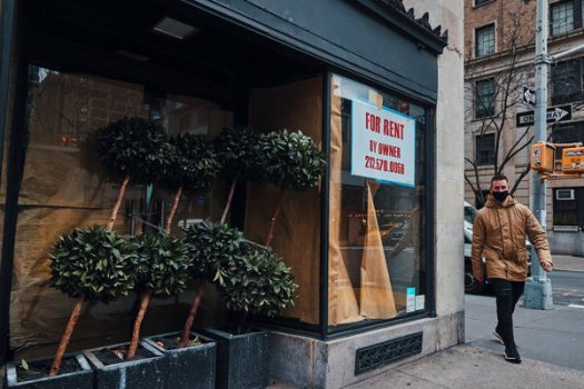 Commercial space for rent in New York City. Stay-at-home orders and other restrictions have left millions without work as businesses close.