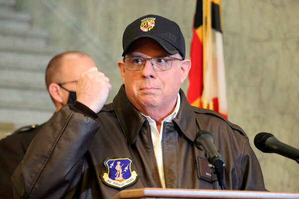 Gov. Larry Hogan of Maryland during a news conference in Annapolis, Md., on Thursday. He said President Trump should resign or be removed from office.