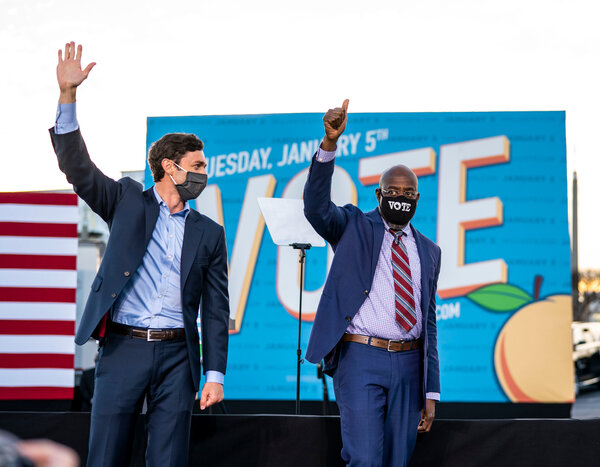 The election of Jon Ossoff, left, and the Rev. Raphael Warnock was a political triumph for the Democratic Party in a state that has stymied it for decades.