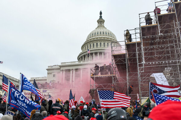 Supporters of President Trump breach the Capitol building on Wednesday.