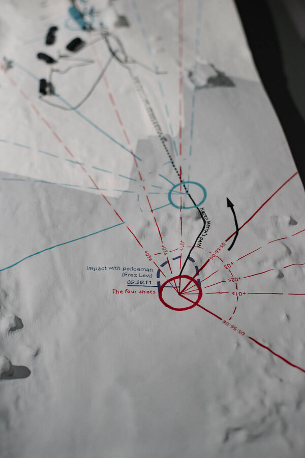 As part of its work, Forensic Architecture often uses data to reconstruct bullet trajectories and sight lines.