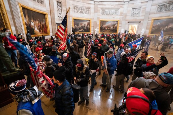 Supporters of President Trump were inside the Rotunda after storming the U.S. Capitol.